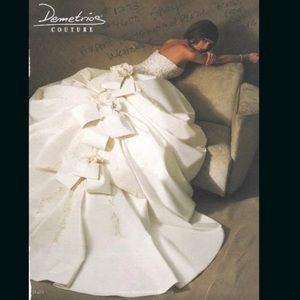 Demetrios Rare Bow Flower Wedding Dress